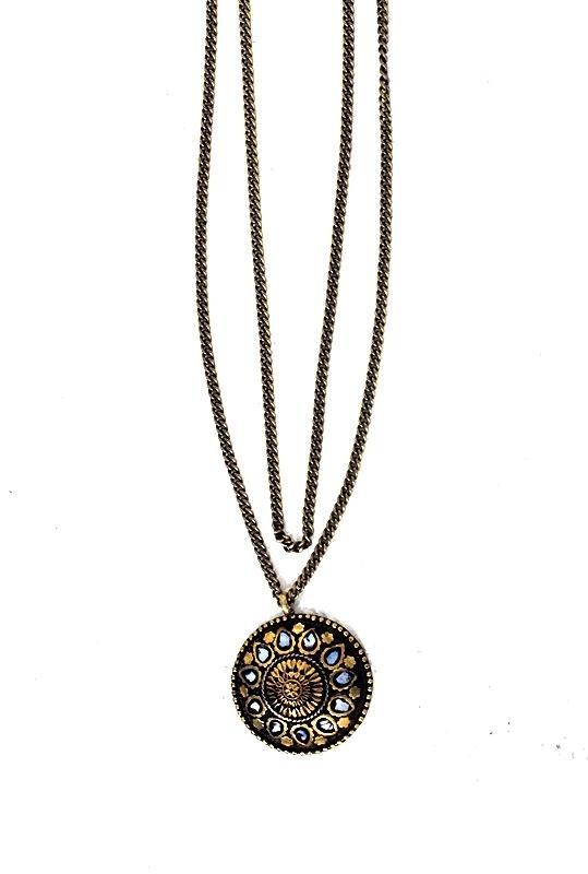 Natalie B Jewelry Tibet Aztec Sunburst Necklace