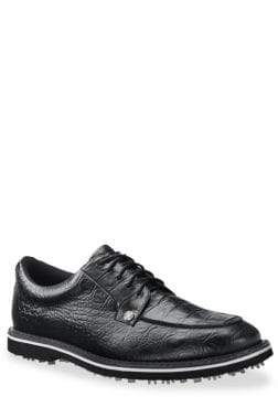 G/FORE Gallivanter Pintuck Croc-Embossed Leather Golf Shoes
