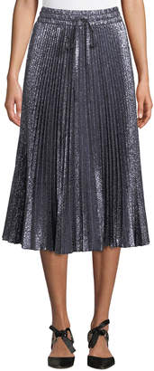 RED Valentino Cloque Flower-Pleated Midi Skirt