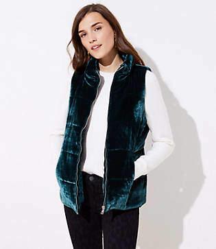 LOFT Petite Velvet Puffer Vest