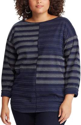 Chaps Plus Size Striped Boatneck Top