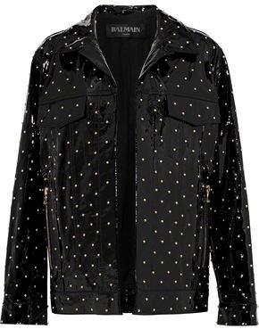 Balmain Studded Patent-Leather Jacket