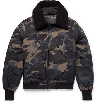 Canada Goose Bromley Shearling-Trimmed Camouflage-Print Canvas Down Bomber Jacket