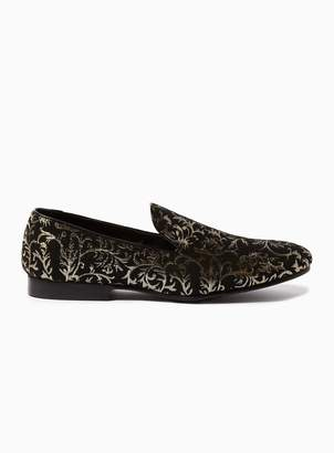 Topman Gold and Black 'Boa' Brocade Loafers