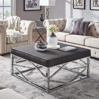 Weston Home Libby Smooth Top Cushion Ottoman Coffee Table with Chrome Metal Geometric Base, Multiple Colors