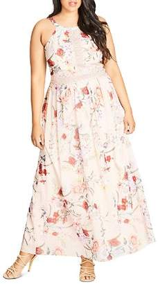 City Chic Plus Floral Halter Maxi Dress