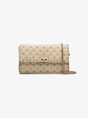 Valentino Ivory Rockstud Spike Quilted Clutch Bag