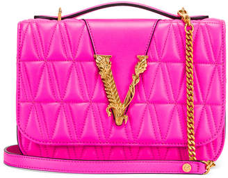 Versace Quilted Leather Tribute Crossbody Bag in Fuchsia & Gold | FWRD