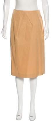 Alberta Ferretti Silk Knee-Length Skirt Tan Silk Knee-Length Skirt