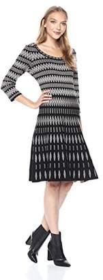 Gabby Skye Women's 3/4 Sleeve Scoop Neck Sweater A-line Dress