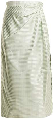 Carolina Herrera High-rise gingham silk midi skirt