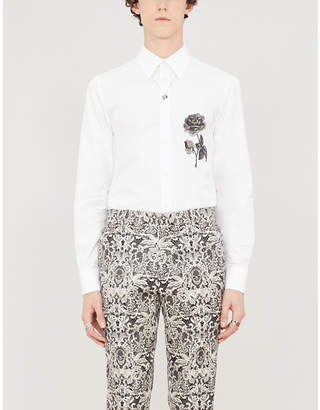 Alexander McQueen Floral-embroidered slim-fit cotton shirt