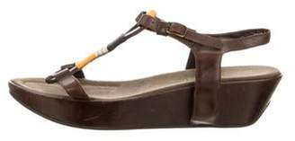 Henry Beguelin Leather Slingback Wedges Brown Leather Slingback Wedges
