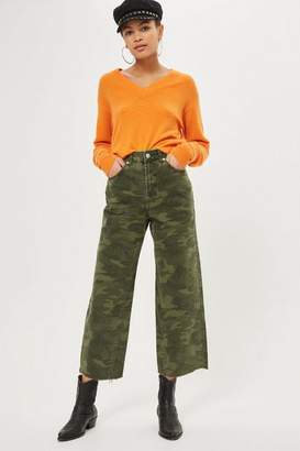 Topshop Petite Khaki Camouflage Cropped Jeans