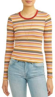 No Boundaries Juniors' Striped Frill Edge Cropped T-Shirt w/ Necklace 2Fer