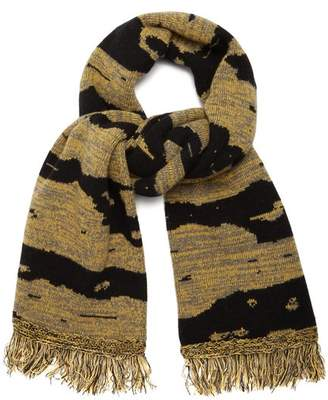 Raey Football Space Dyed Wool Scarf - Mens - Yellow Multi