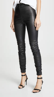 Alexander Wang Stretch Leather Pants with Ruching Detail