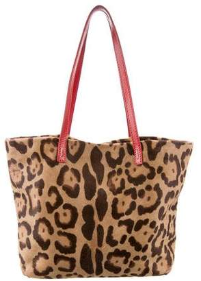 Valentino Leather-Trimmed Ponyhair Tote