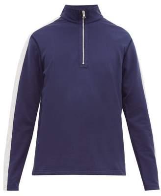 Reigning Champ Striped Sleeve Half Zip Cotton Jersey Sweatshirt - Mens - Blue