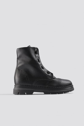 Na Kd Shoes Zipper Detail Combat Boots Black
