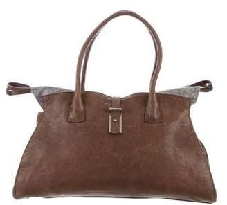 Brunello Cucinelli Felt-Trimmed Distressed Bag