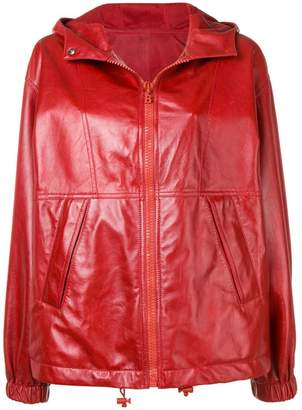 Bally hooded leather jacket