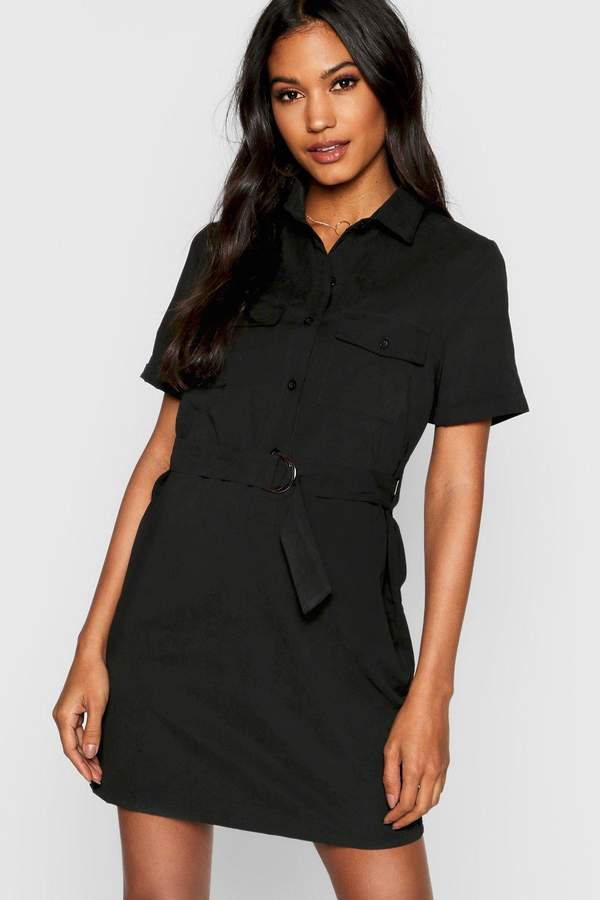 Utility Suedette Belted Shirt Dress