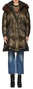 Sacai Women's Faux-Fur-Trimmed Down Puffer Coat - Beige, Khaki