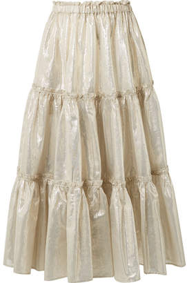 Lisa Marie Fernandez Tiered Cotton-blend Lame Midi Skirt