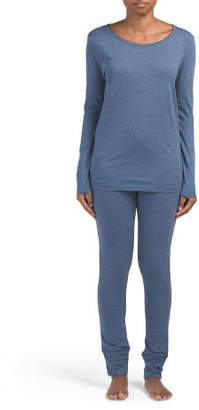 2pc Long Sleeve Top With Leggings Pj Set