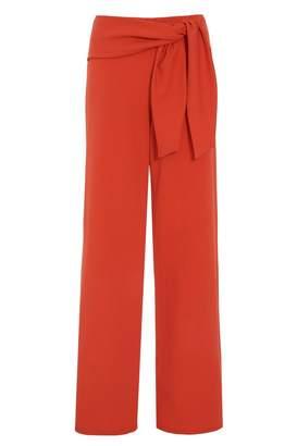 Quiz Orange Crepe Tie Waist Palazzo Trousers