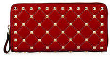 Valentino Rockstud Quilted Zip-Around Wallet