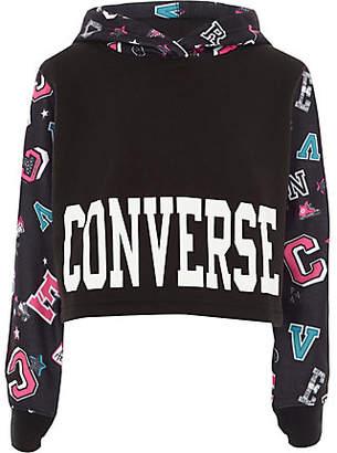 River Island Girls Converse black badge cropped hoodie