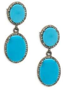 Halo Slice Diamond, Turquoise and Sterling Silver Double Drop Earrings