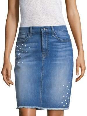 7 For All Mankind Jen7 by Embellished Denim Pencil Skirt
