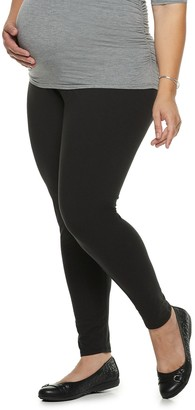 A Glow Plus Size Maternity a:glow Full Belly Panel Solid Leggings