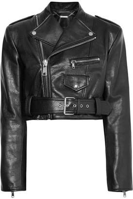 Alexander McQueen Cropped Textured-leather Biker Jacket - Black