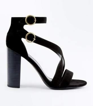 New Look Black Suedette Circle Buckle Block Heels