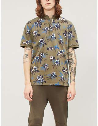 The Kooples Floral-pattern cotton-piqué polo shirt