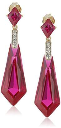 10k Yellow Gold Special-Cut Created Ruby and Diamond Drop Earrings