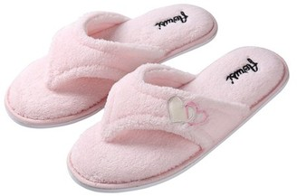 SUMACLIFE Women's Cozy Heart Soft Plush Thong Indoor Slippers with No-Slip Rubber Sole