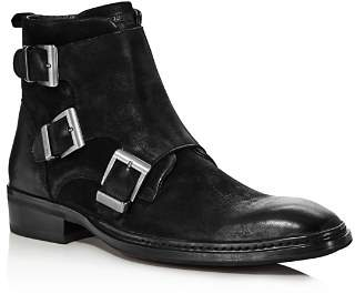 Karl Lagerfeld Paris Men's Buckled Leather Ankle Boots