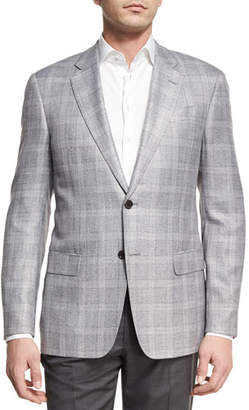 Armani Collezioni Plaid Two-Button Sport Coat, Light Silver/Gray