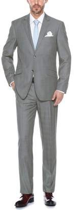 Verno Men's Stylish Windowpane Slim Fit Notch Lapel Suit