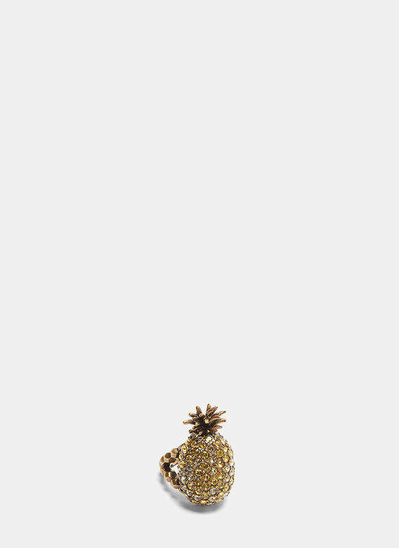 Crystal-Studded Pineapple Ring in Gold