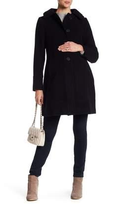 Kimi + Kai Carina Hooded A-Line Wool Blend Coat (Maternity)