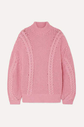 Emilia Wickstead The Woolmark Company Mirren Oversized Merino Wool Turtleneck Sweater - Pink