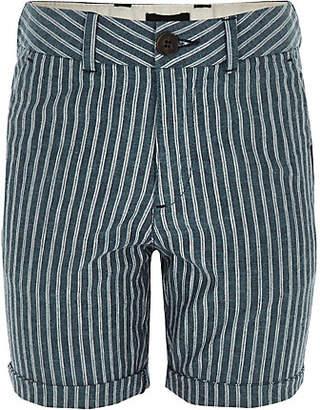 River Island Boys navy stripe linen shorts