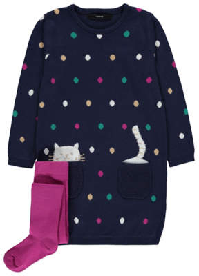 CAT Navy Knitted Dress and Tights Outfit