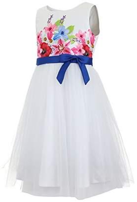 Emma Riley Girls' Flower Bodice Dress with Tulle Skirt 6